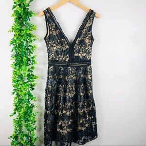 Aqua black lace dress